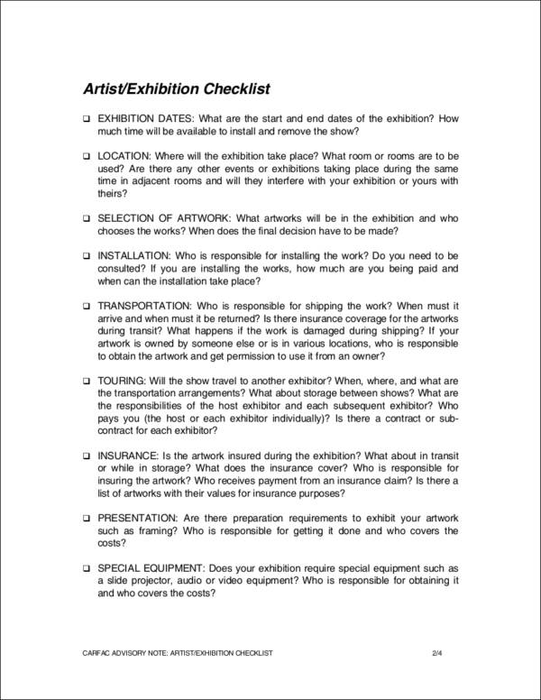 artist or exhibition checklist template