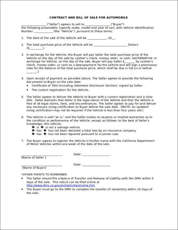 auto bill of sale and contract template