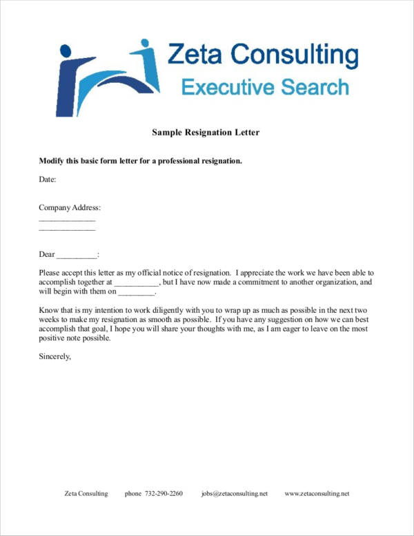 Basic Professional Resignation Letter Template  Professional Resignation Letter