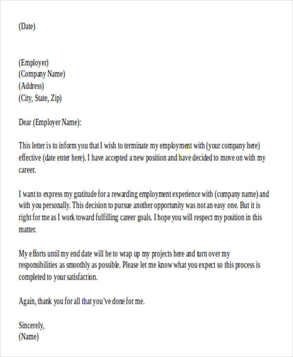 33 printable resignation letter samples templates sample templates best resignation letter format in doc altavistaventures Choice Image