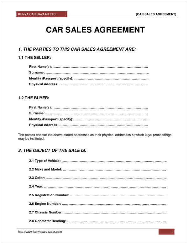 car sales agreement contract template