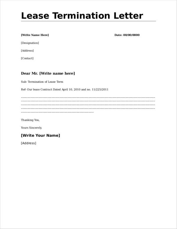 Letter For Termination Of Lease from images.sampletemplates.com