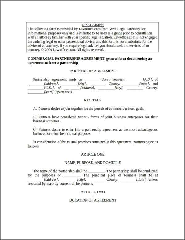 commercial partnership agreement contract template