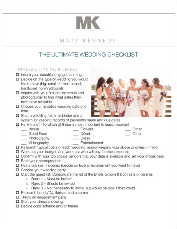 complete wedding checklist template