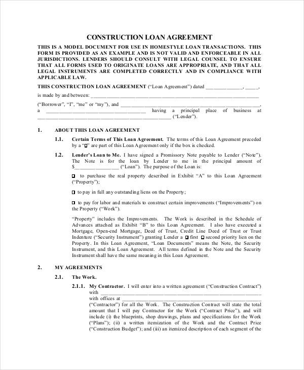 Construction Loan Agreement Contract Template