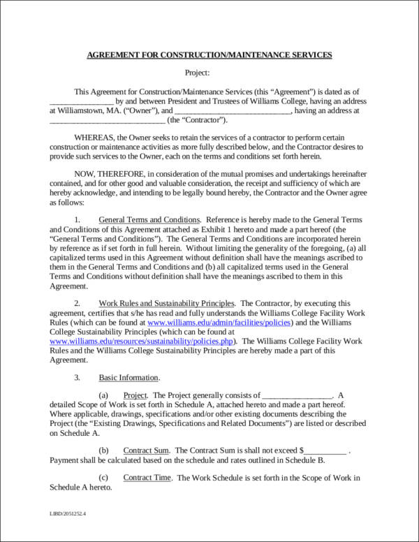 construction maintenance contract template