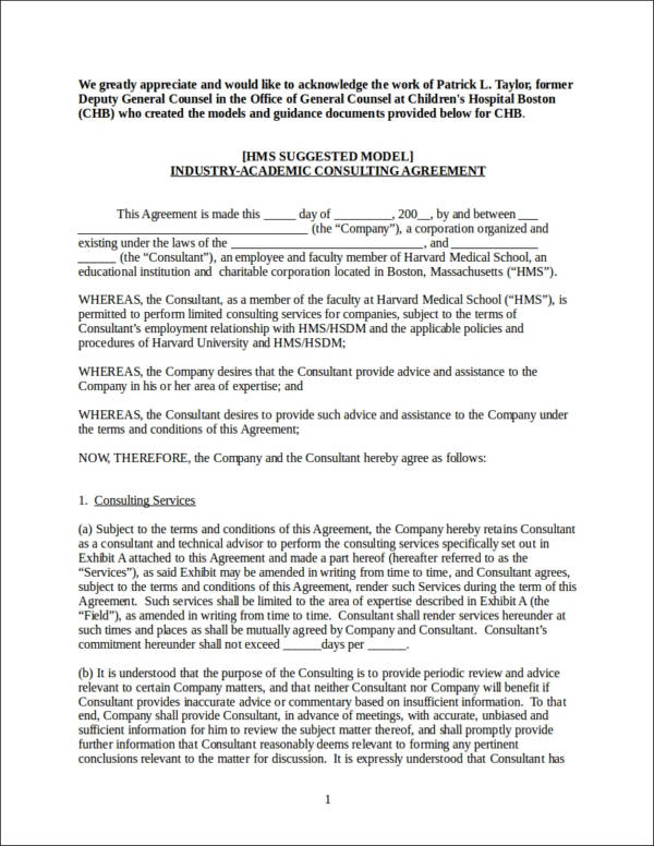consulting agreement contract template