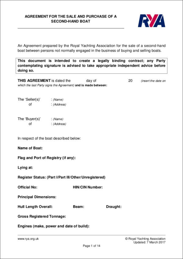 contract template for the sale and purchase of a second hand boat