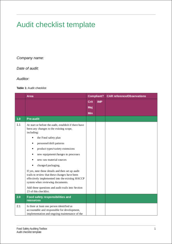 iso 9001 audit checklist template pdf