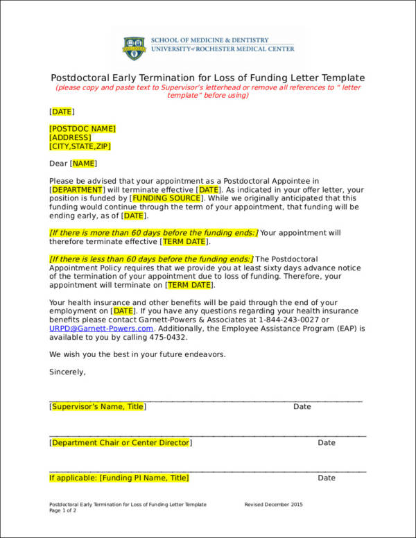 11 company termination letter samples pdf word