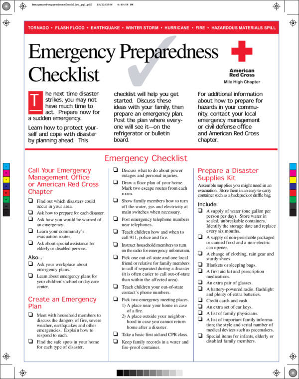 emergency response checklist template 48 printable checklist samples templates sample templates