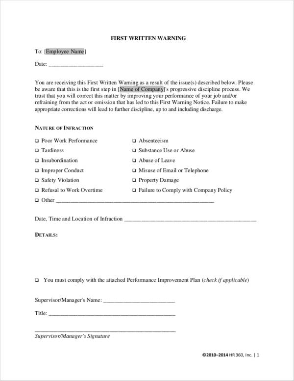 employee first warning notice form
