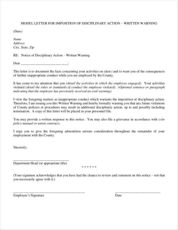employee warning notice sample letter
