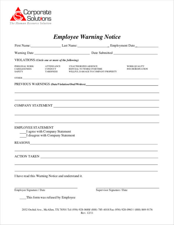 employee warrning notice example in pdf