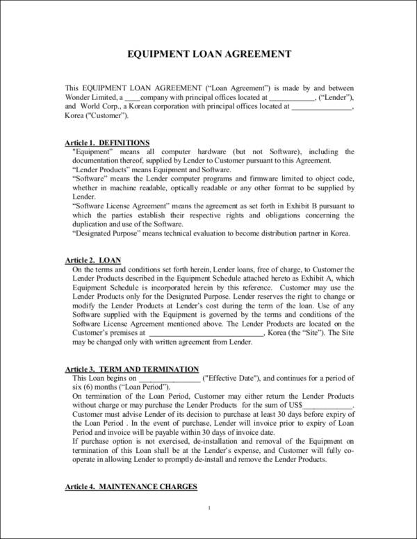 equipment loan agreement contract