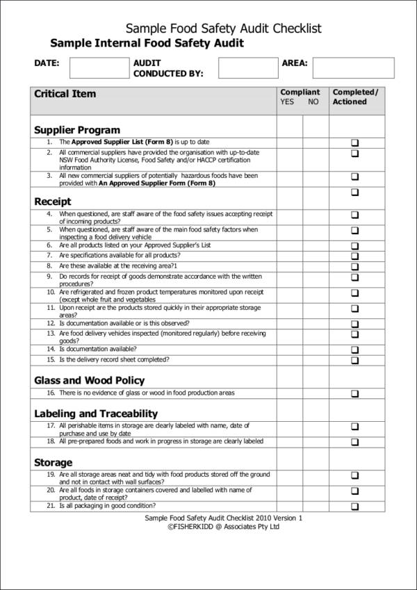 food safety inspection checklist template