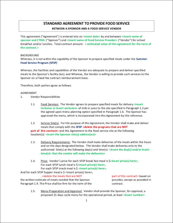 Vendor Contract Agreement Template Vendor Agreement Template Vendor