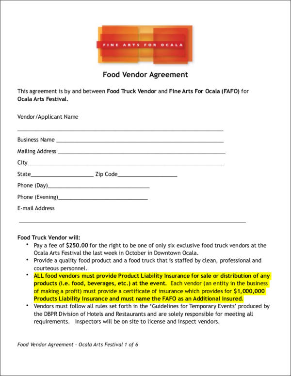 food vendor contract template