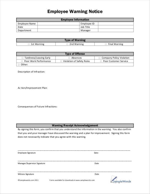 free printable employee warning notice