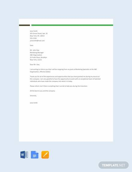 Free 37  Printable Resignation Letter Samples In Pdf
