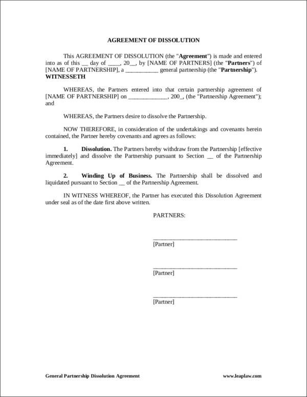 general partnership termination contract template