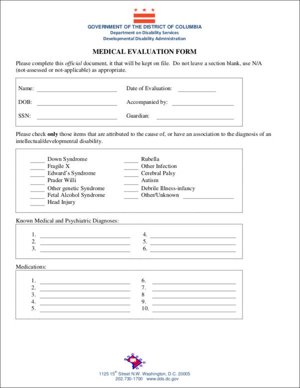 government medical evaluation form