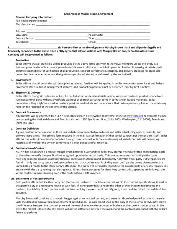 Sample Vendor Contract Northgate Vendor Agreement