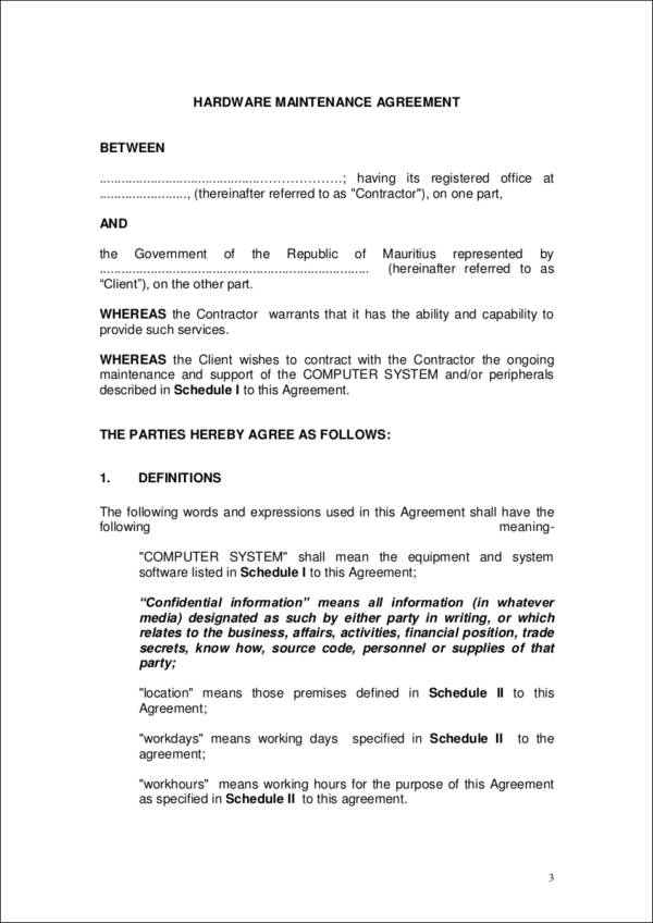 hardware maintenance agreement contract template