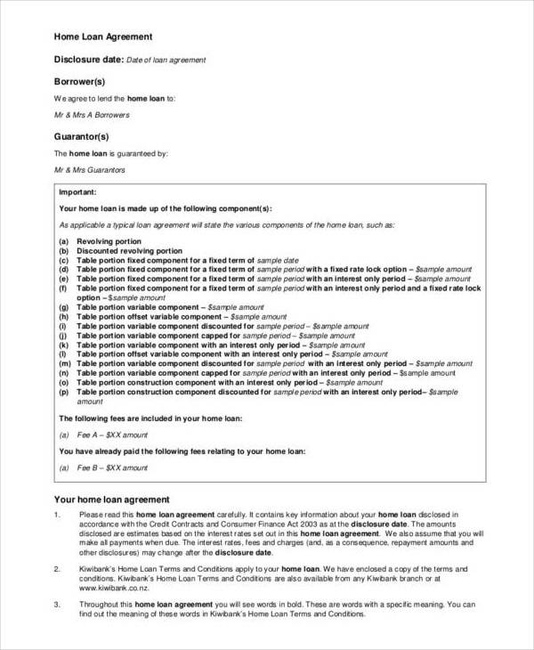 home loan agreement contract sample1