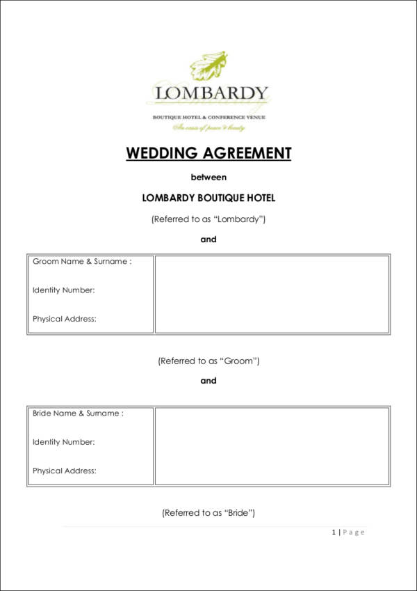 9 Wedding Contract Templates Free Word, PDF Format Download