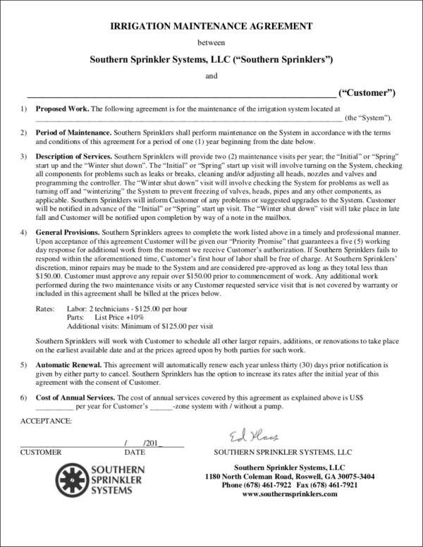 irrigation maintenance agreement contract