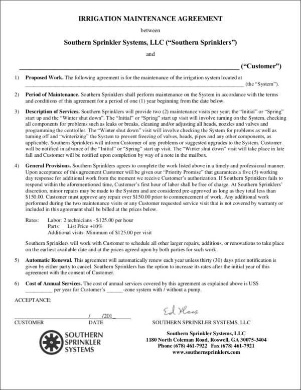 irrigation maintenance agreement contract