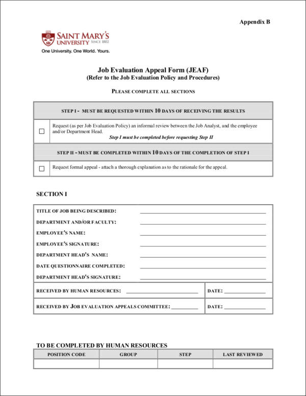 Job Evaluation Form Samples  Templates  Free Word Pdf Format