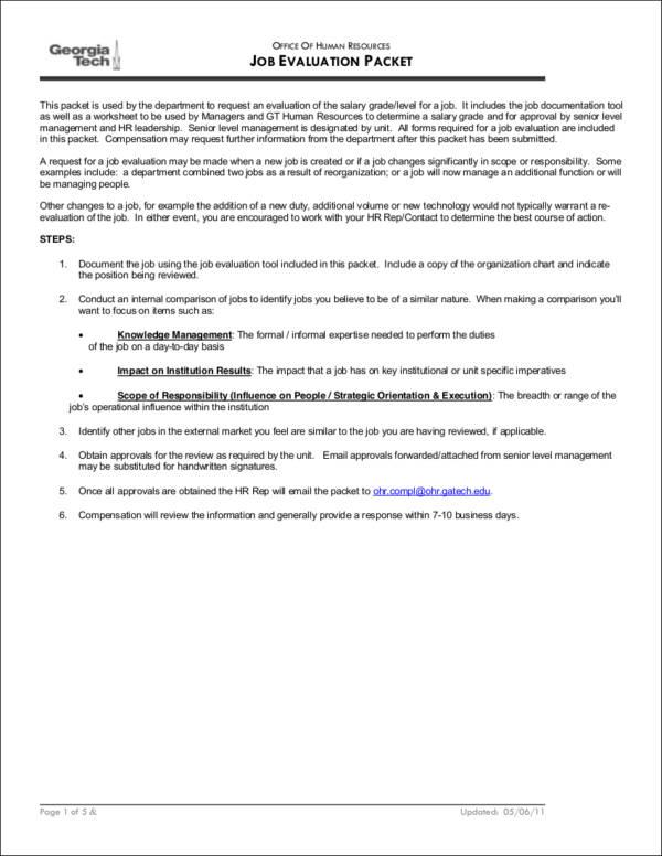 job evaluation packet form sample
