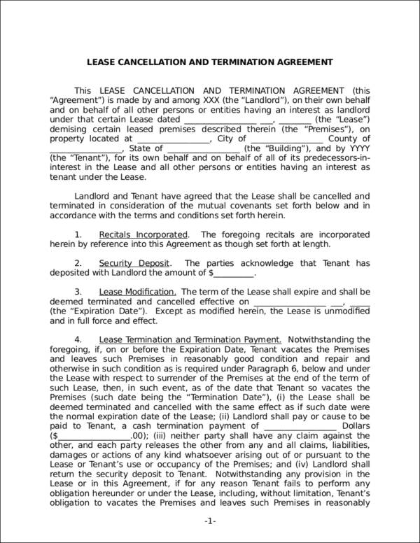 lease cancellation and termination agreement