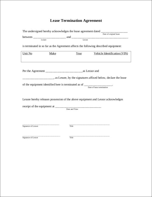 lease termination agreement contract template