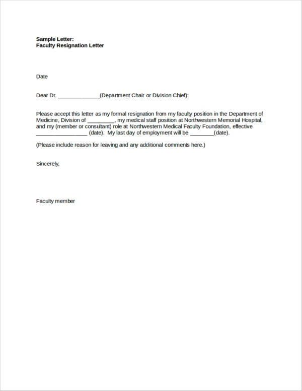 medical faculty resignation letter