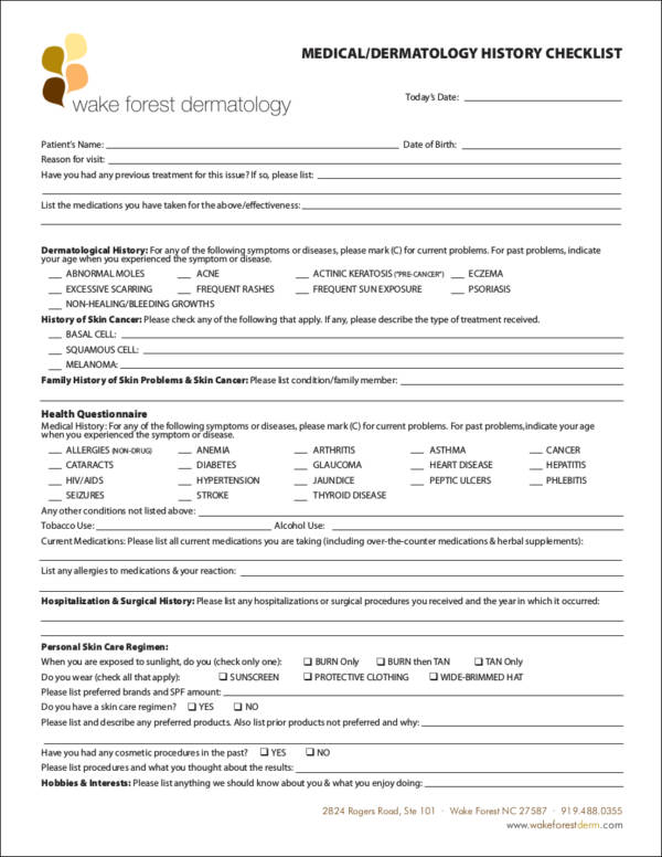 medical or dermatology history checklist template