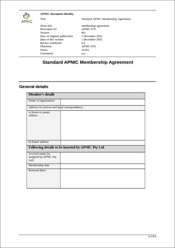 membership agreement contract template