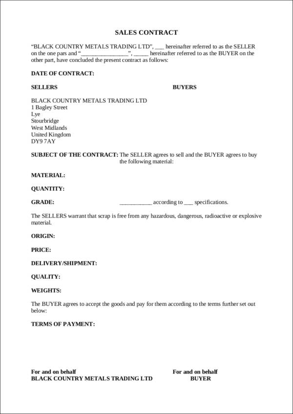metal sales contract template