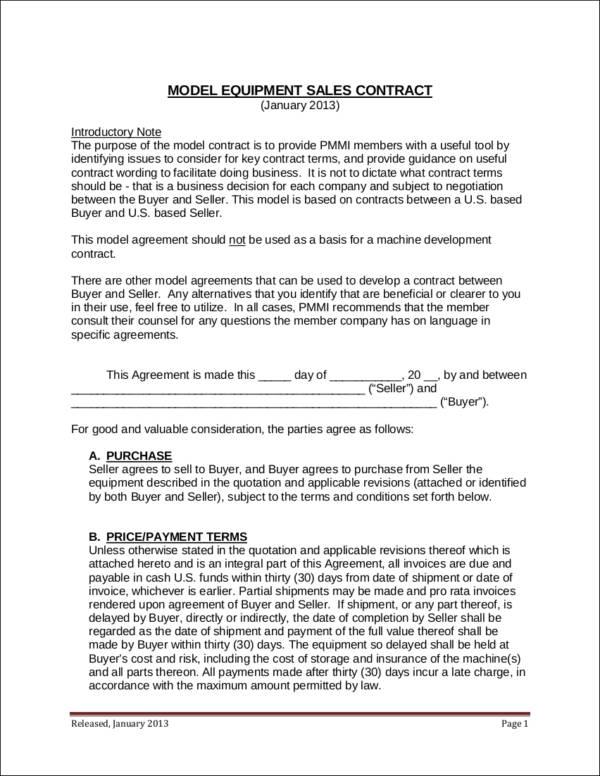 model equipment sales contract