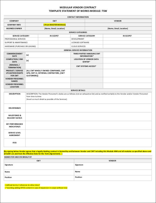 9+ Vendor Contract Samples & Templates - Free Word, PDF Format Download