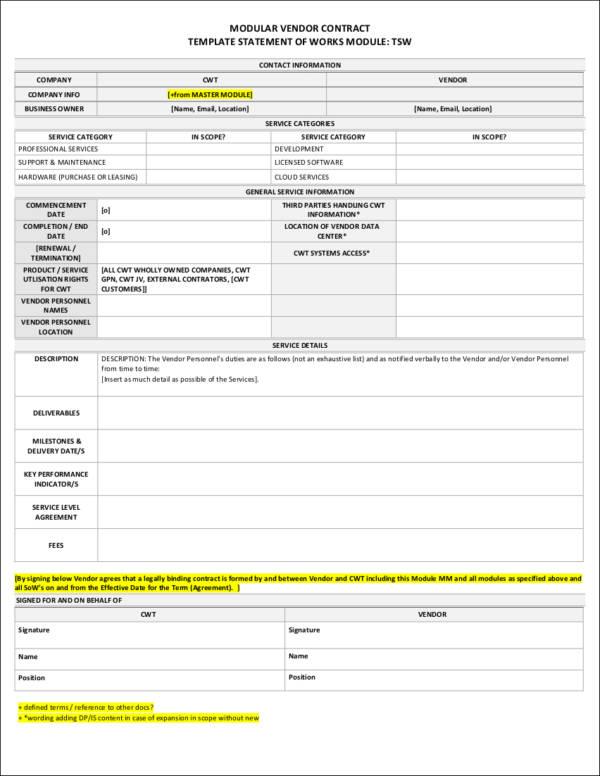 modular vendor contract template