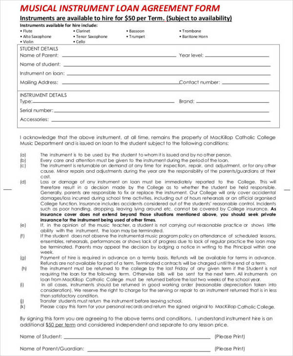 musical instrument loan agreement contract1