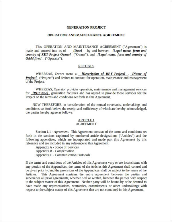 operation and maintenance agreement contract template