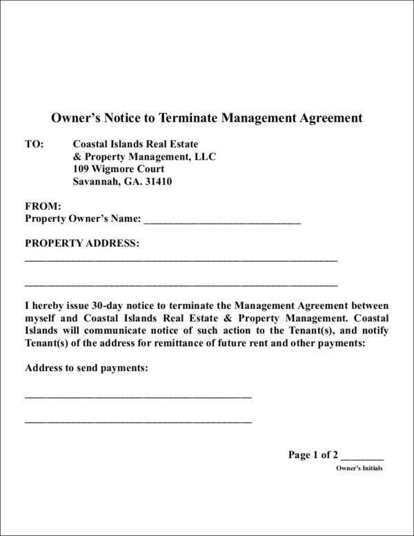 owner's notice to terminate management agreement contract template