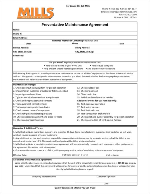 Free 18 Maintenance Contract Templates In Word Docs
