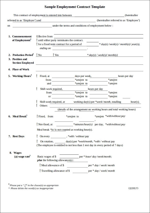printable employment contract template