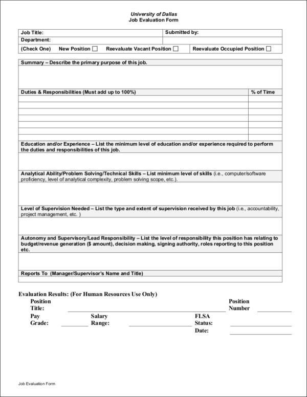 printable job evaluation form sample template