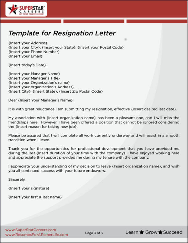 printable template for resignation letter